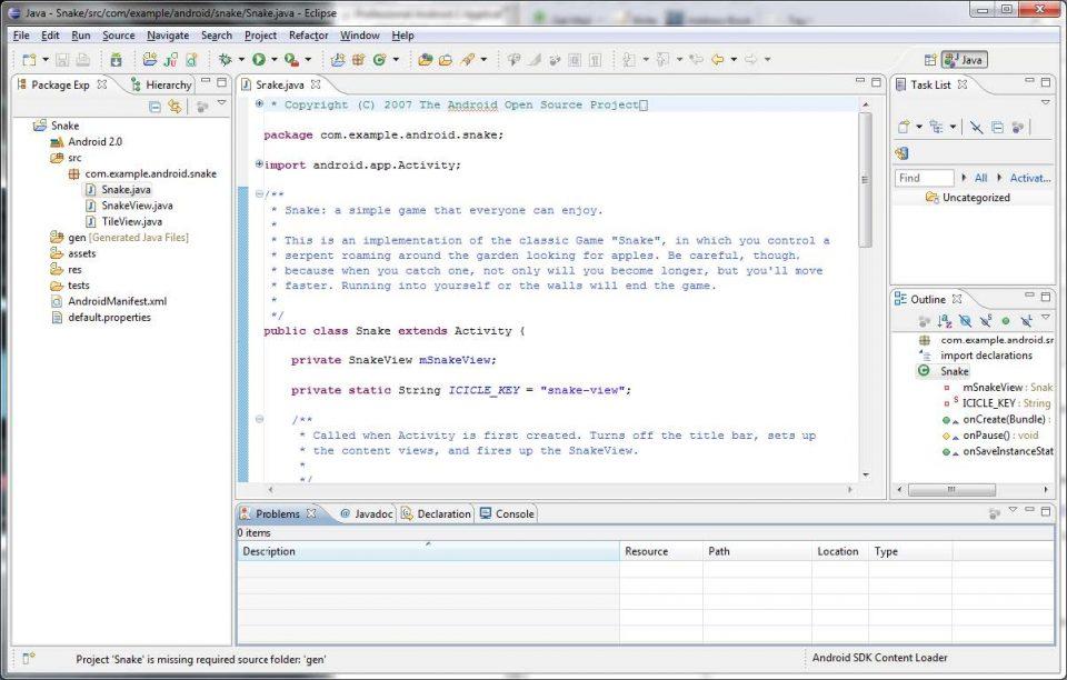 Immagine con l'ambiente di sviluppo Eclipse