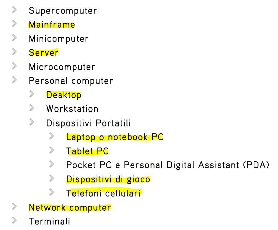 Classificazione degli elaboratori elettronici o Classificazione dei computer
