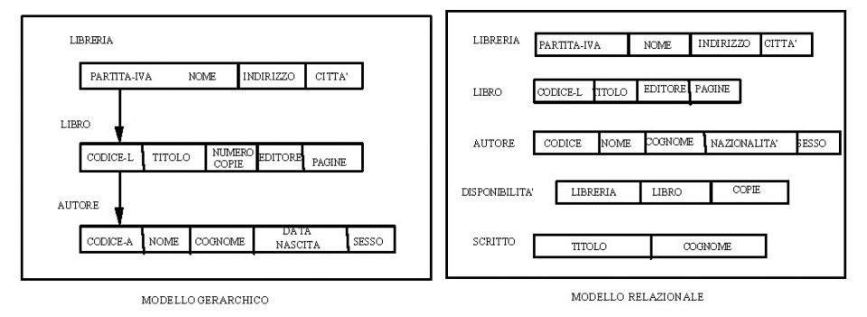 Librerie e libri descritti nei modelli gerarchico e relazionale