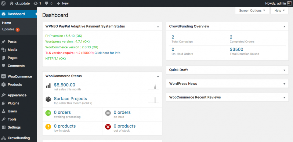 Dashboard WordPress - CMS open source