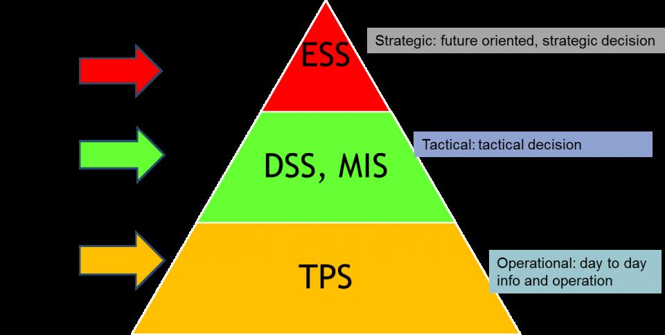 Differenza tra sistemi TPS, MIS, DSS e ESS in informatica
