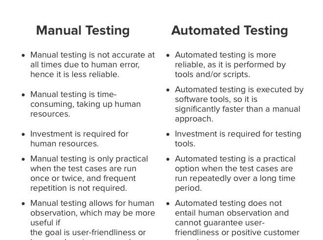 Differenze tra Test manuale e Test automatico
