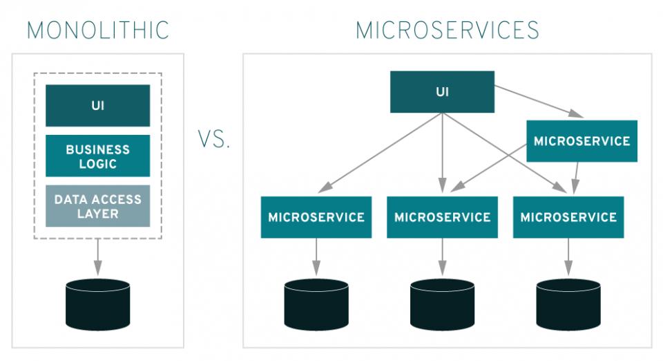 Differenza e vantaggi tra Architettura monolitica e Architettura di microservizi in informatica